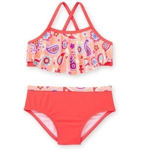 Tod Girls Hot Coral Paisley Bikini Size 5T NWT